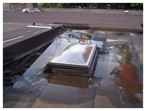 pooling water on a flat roof - leaking skylight
